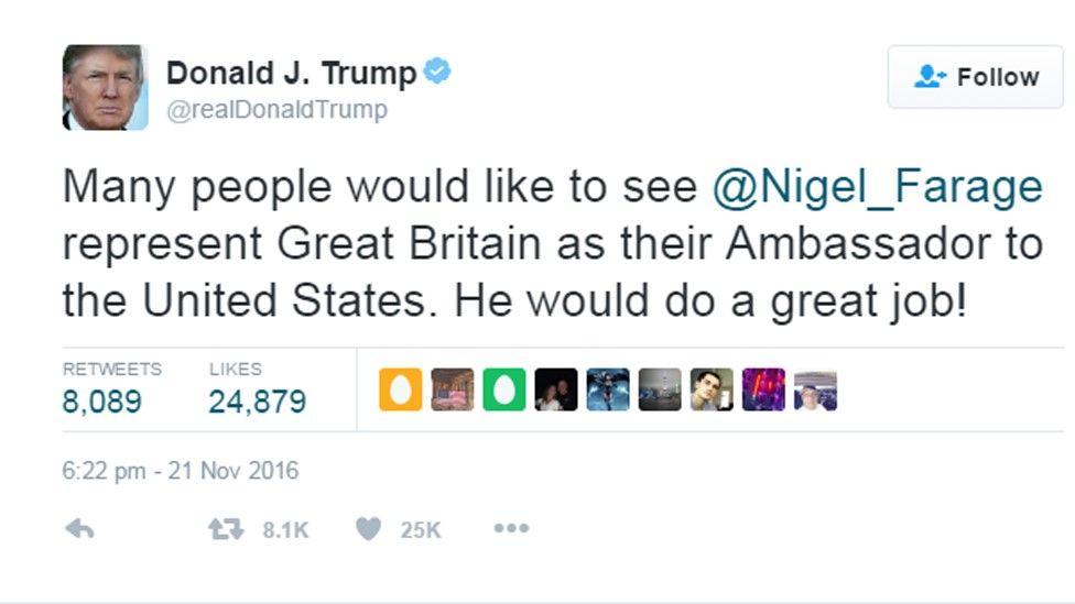 Trump tweet re Farage