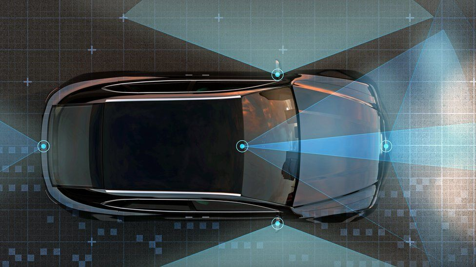 View of self-driving SUV on the road with sensing graphic pattern