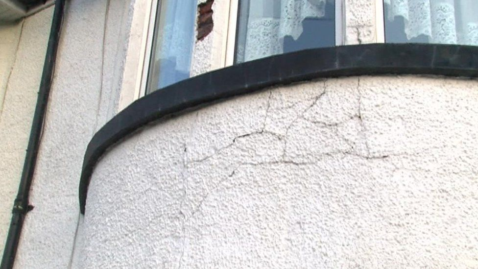 Crack in the outside wall of Kenneth Bowen's house in Hawthorn, Pontypridd