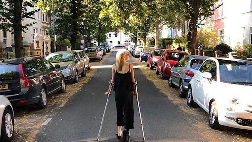 On crutches last summer