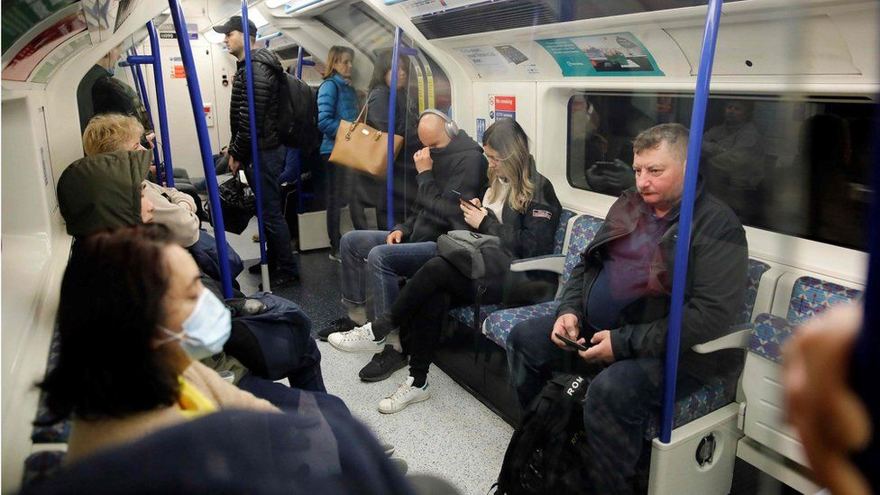 Commuters on a Victoria Line Tube into central London on Wednesday morning