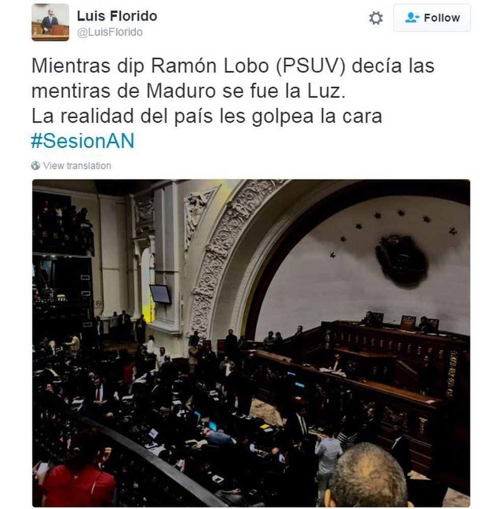 """Tweet from Venezuelan MP Luis Florido in Spanish reads: """"As MP Ramon Lobo was saying Maduro's lies, the energy went off. The country's reality has hit them in the face."""""""