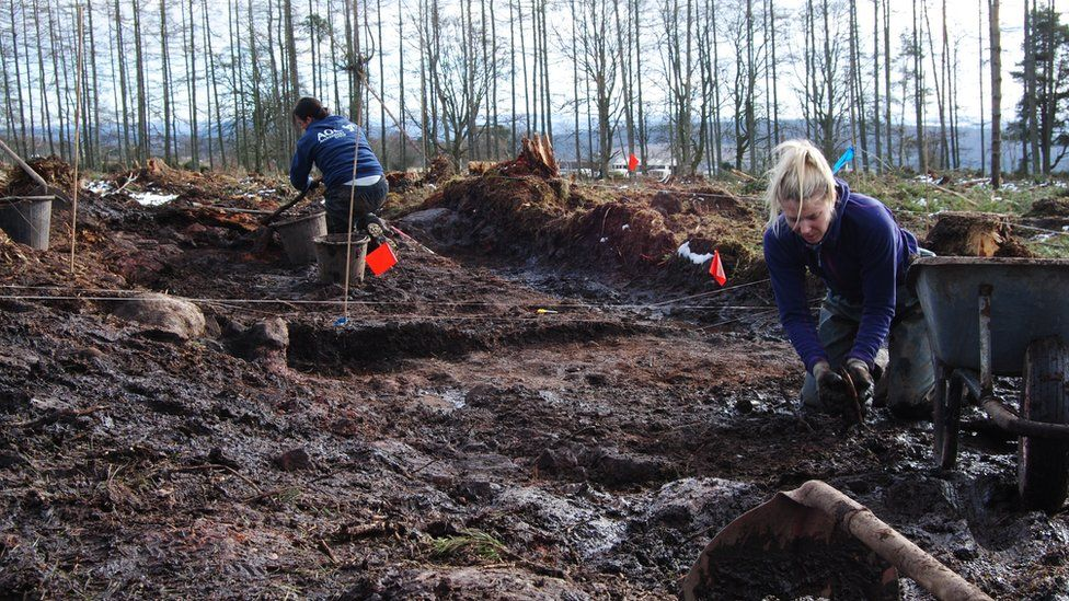Archaeologists working at the site of the roundhouse