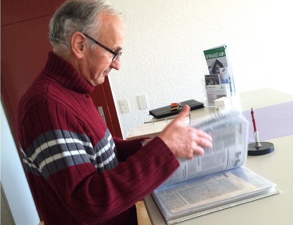 Mayor Fritz Broennimann has an archive of letters and cards