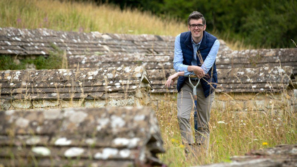 Archaeologist Peter Moore at Chedworth Roman Villa