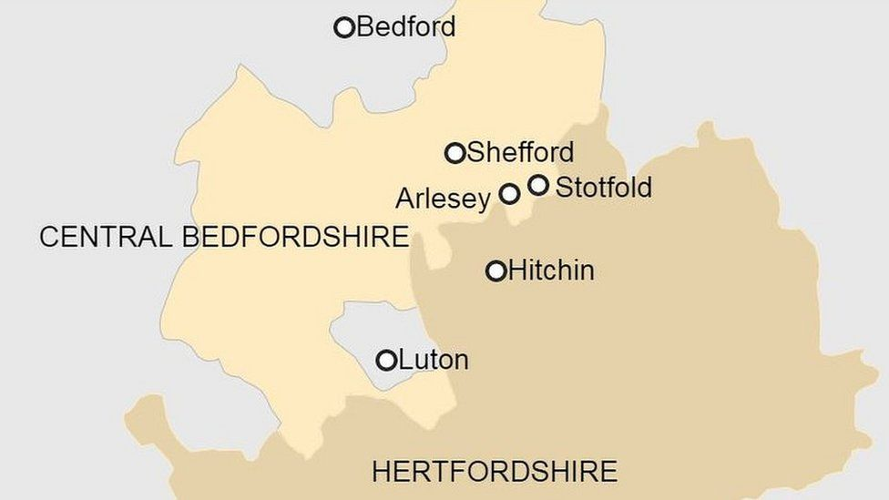 Map showing Arlesey, Shefford and Stotfold in Bedfordshire