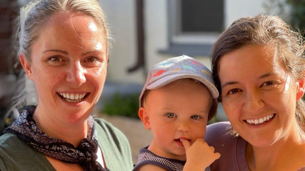 Gemma Appleton (left) with her son and wife