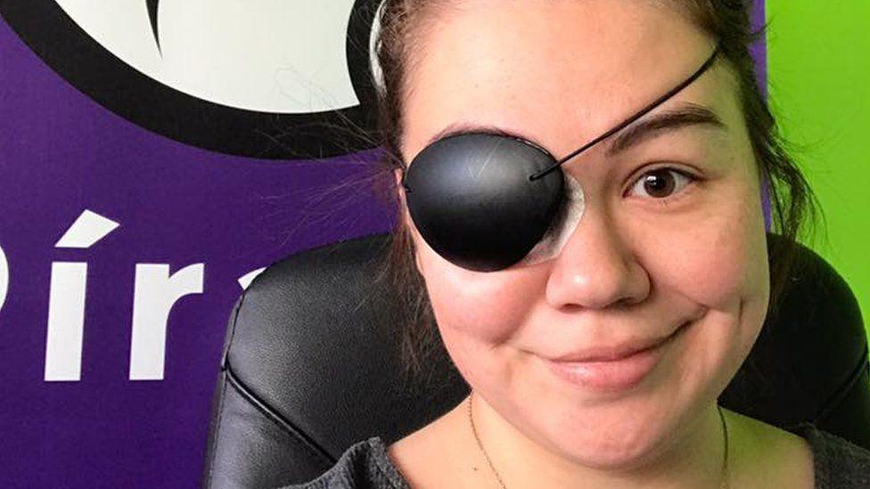 Eva Pandora Baldursdottir sports an eyepatch following an eye injury