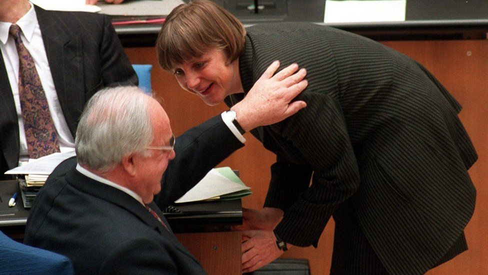 Former German Chancellor Helmut Kohl and Angela Merkel pictured in 1997