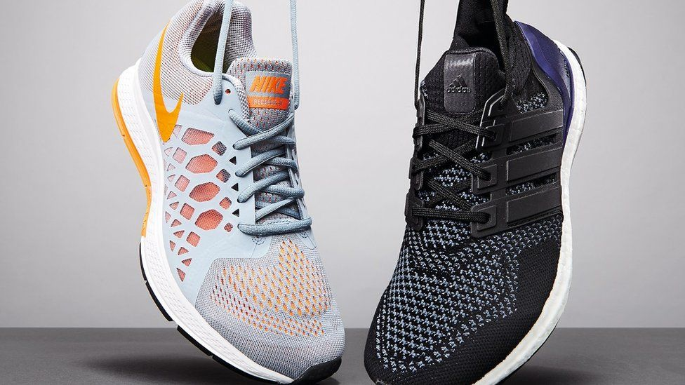 A Nike and Adidas trainer