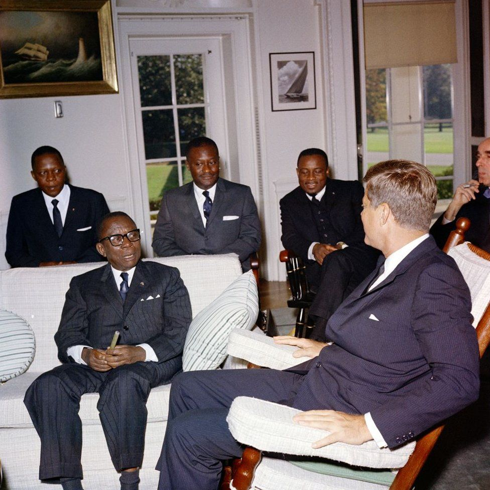 President John F. Kennedy meets with William V.S. Tubman, President of Liberia