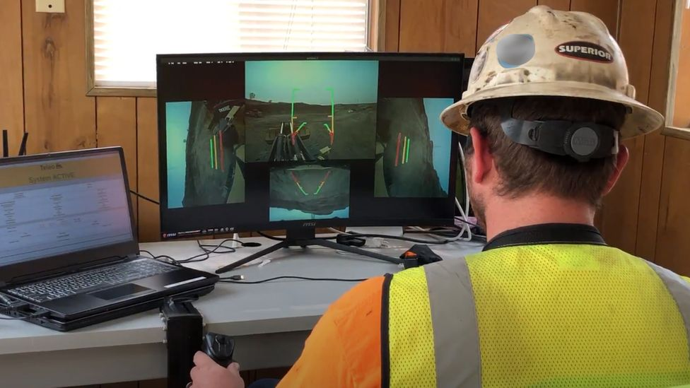 Teleo worker controlling a truck