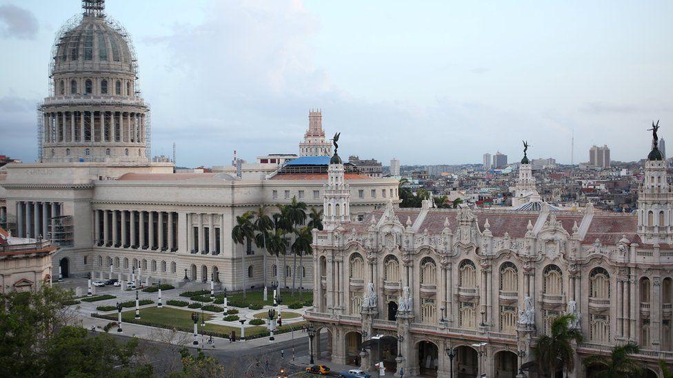 The National Capitol Building and the Gran Teatro de la Habana Alicia Alonso on the Paseo del Prado boulevard in Havana