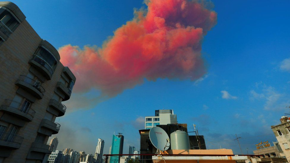 Explosión de nitrato de amonio en Beirut.