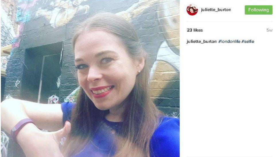 Juliette doing a selfie on Instagram