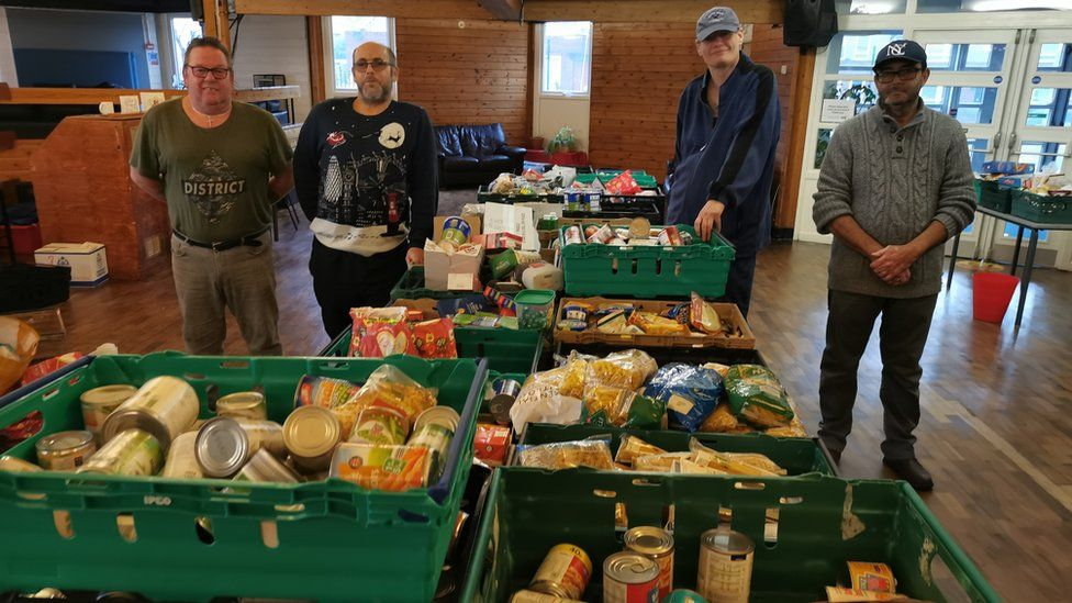 Volunteers at the Spires Foodbank in Sheffield