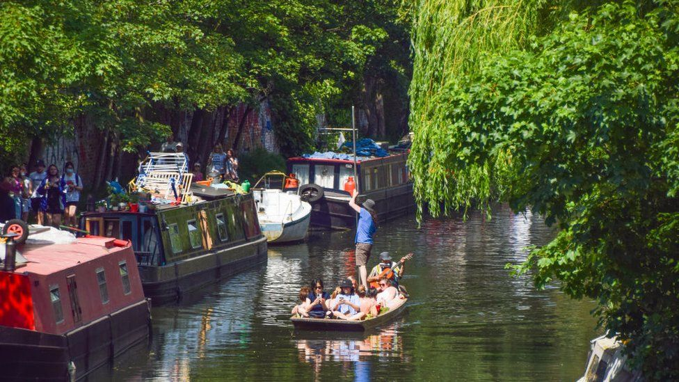 People on a boat on the Regent's Canal