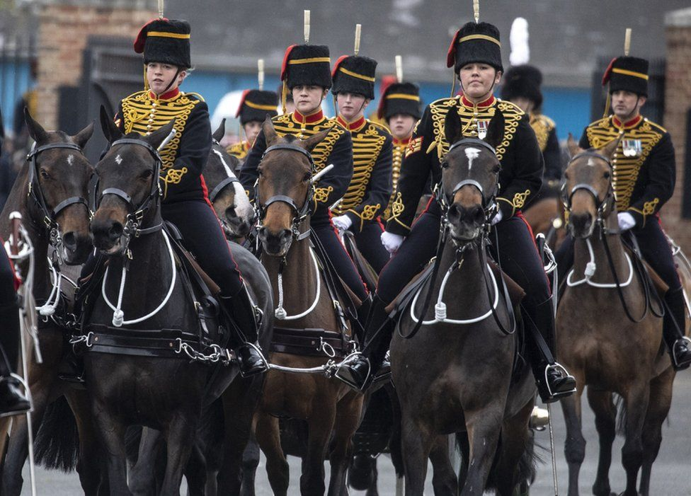 The Kings Troop Royal Horse Artillery prepare for the gun salute at the Parade Ground, Woolwich Barracks, London. 10 April 2020.