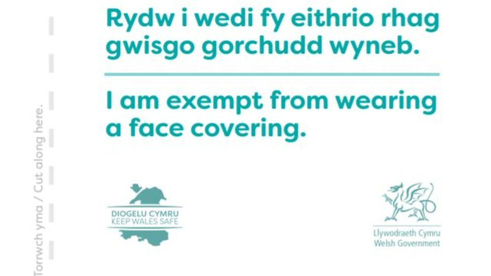 A picture of a Welsh Government exemption card
