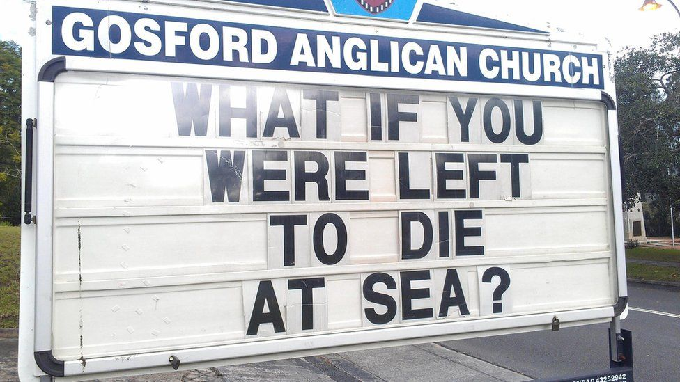 """Gosford Anglican Church billboard reads: """"What if you were left to die at sea"""""""