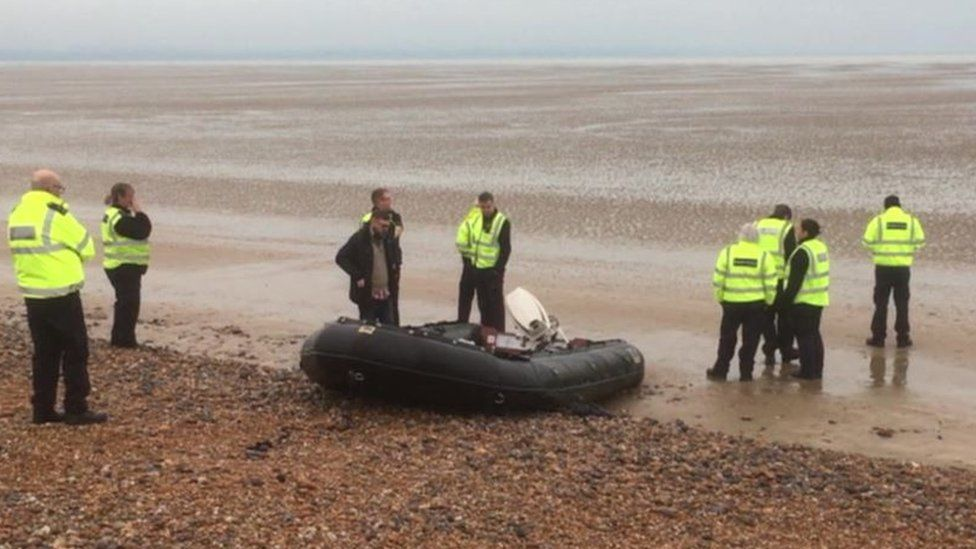 A group of migrants landed on a Kent beach on Monday