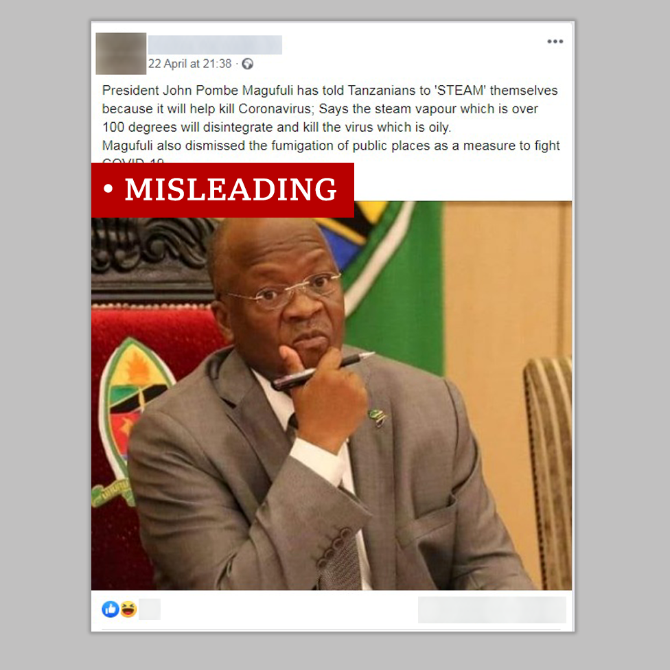 Screen grab of Tanzanian president labelled misleading