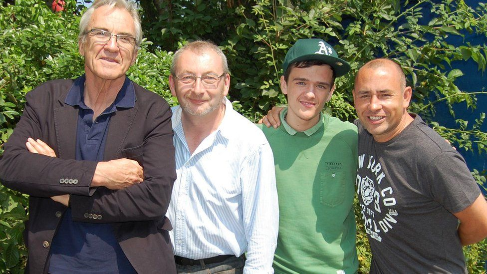 Andy Potter with pantomime cast