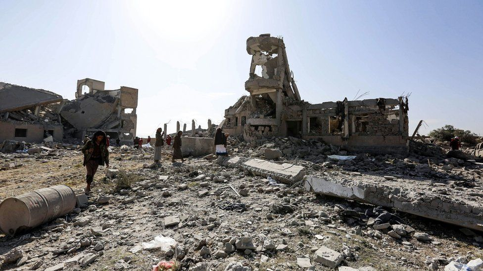 Rubble of a building hit by an air strike of the Saudi-led coalition, in Sanaa on 1 September 2019