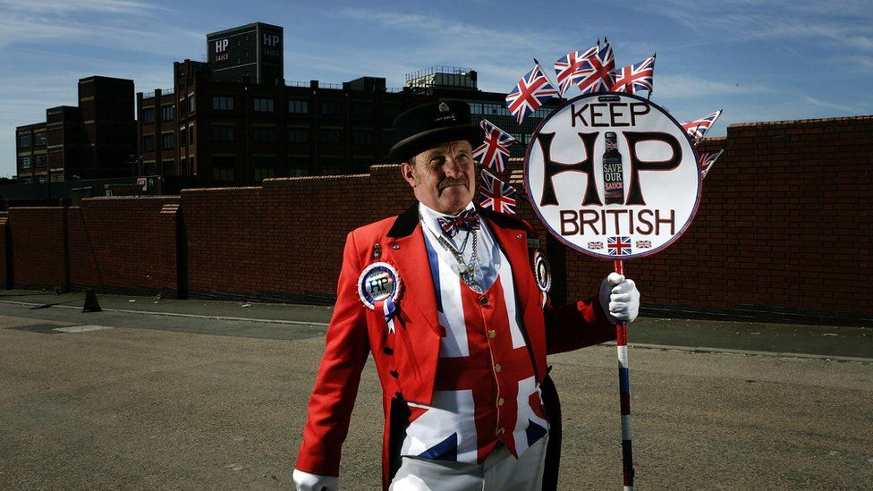 Protester Ray Egan at the HP Sauce factory
