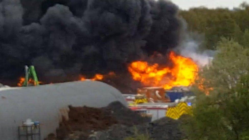 The fire on Deeside Industrial Estate