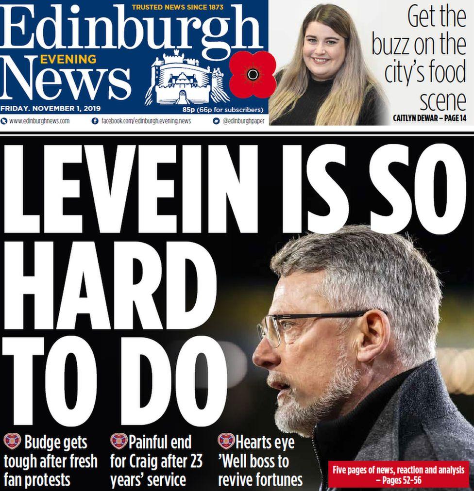 Edinburgh Evening News front page