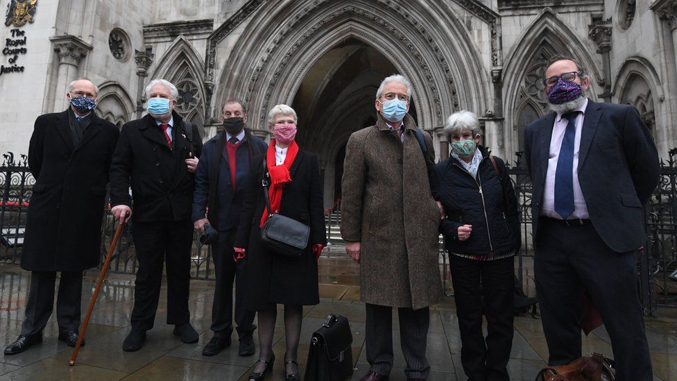 Some of the appellants at court on Wednesday with their supporters and lawyers