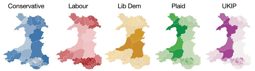 The parties' results across Wales with the darker the shade the higher the proportion of the vote