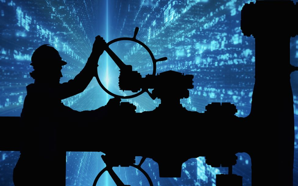 oil worker and cyber imagery