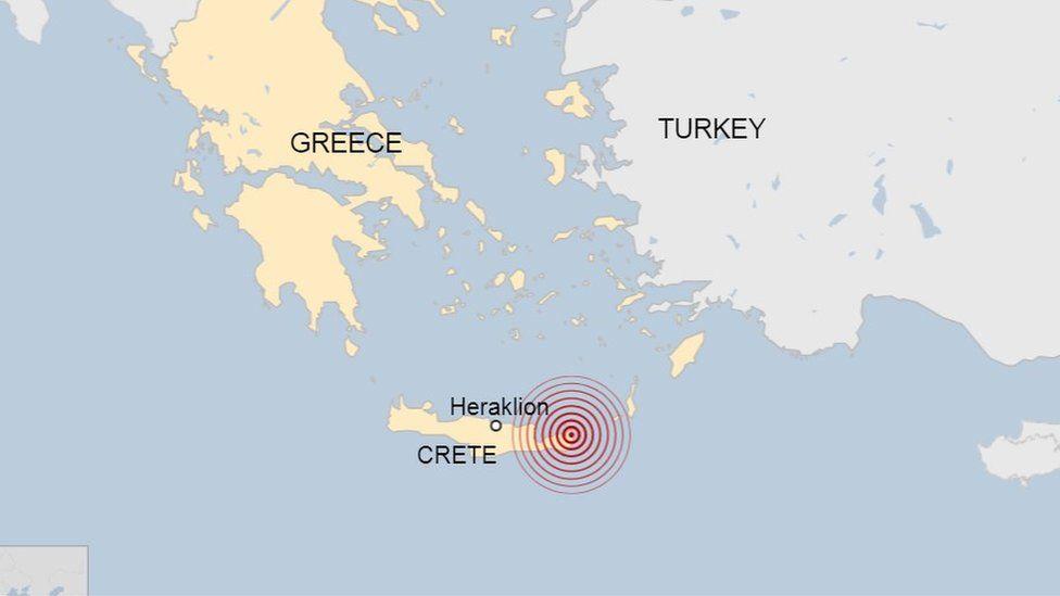 Map showing Crete
