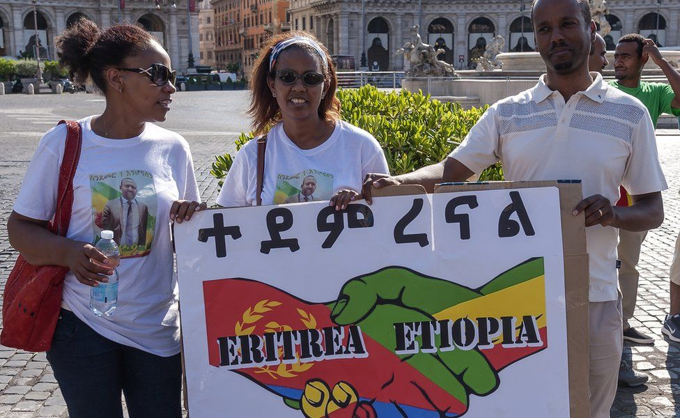 The Ethiopian and Eritrean community of Rome celebrated, in Piazza della Repubblica, the visit of the Ethiopian Prime Minister, Abiy Ahmed, to Asmara, capital of Eritrea, for the meeting with President Isaias Afwerki, for the first meeting between leaders of the two countries 20 years after the border war of 1998-2000 on July 8, 2018 in Rome, Italy.