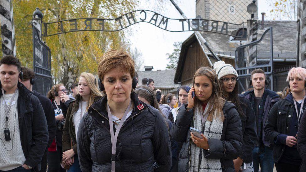 Nicola Sturgeon with students in Auschwitz