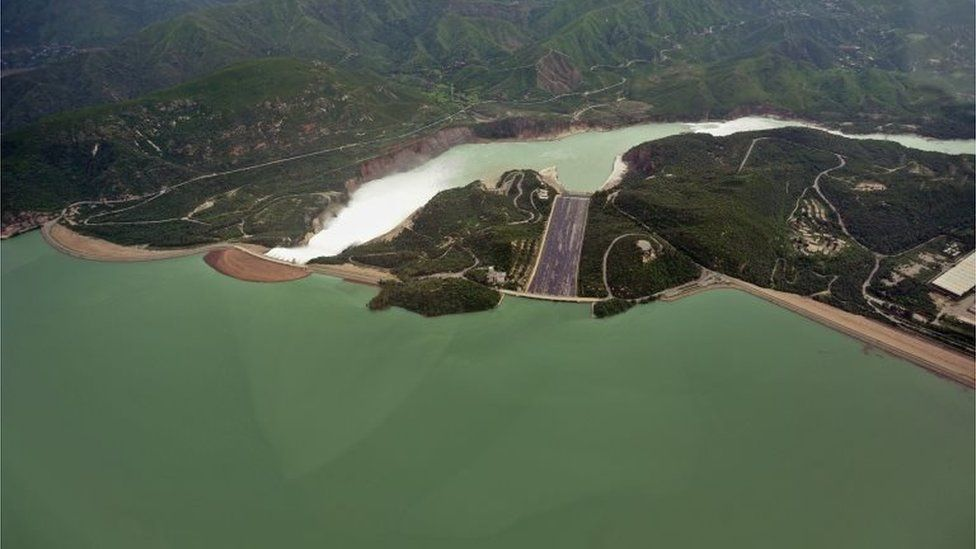 In this picture taken on August 24, 2010, an aerial view of water released in the Tarbela Dam spillway is pictured in Tarbela, Khyber Pakhtunkhawa province