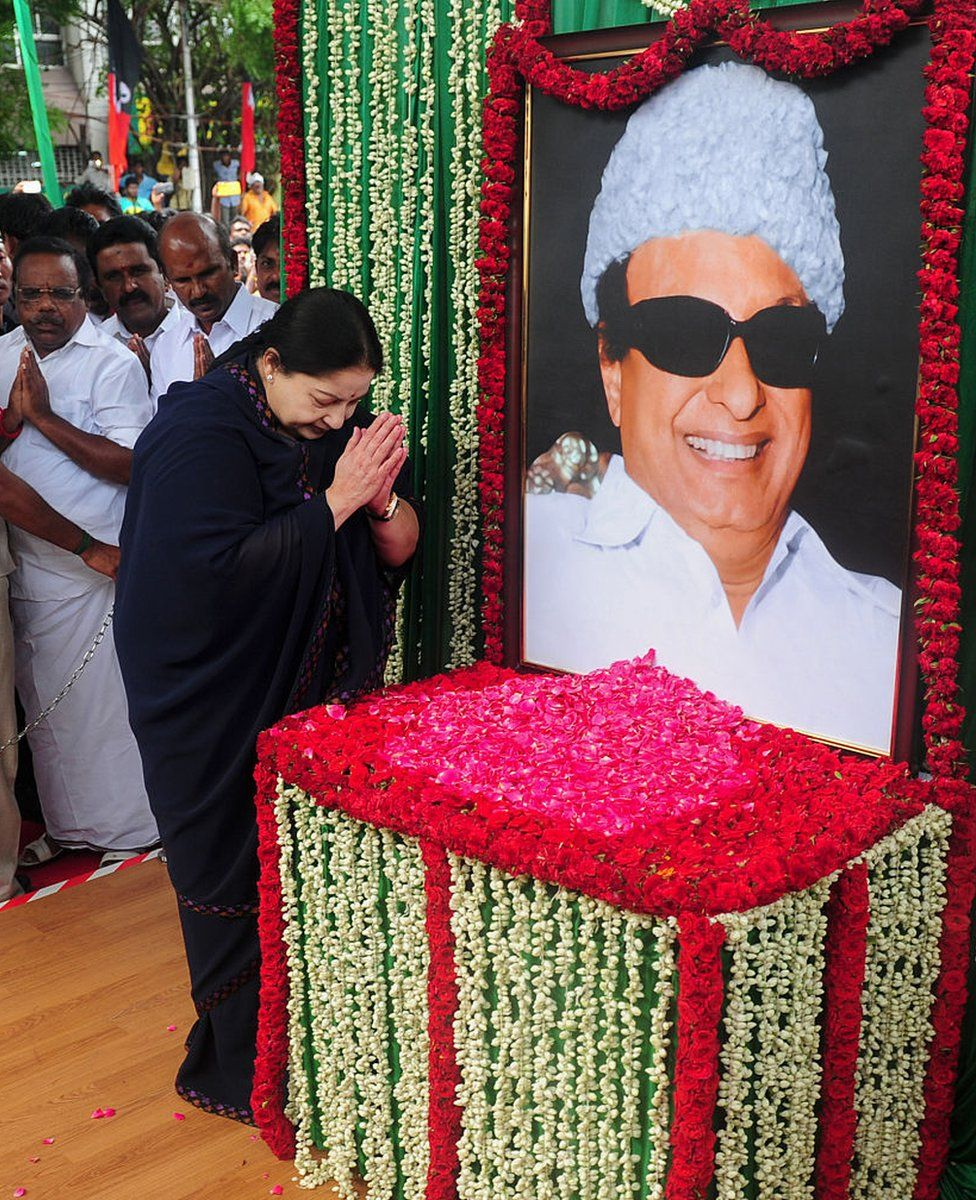 Jayalalithaa Jayaram, leader of the All India Anna Dravida Munnetra Kazhagam (AIADMK), visits a portrait of party founder M.G. Ramachandran in Chennai on May 20, 2016. The former movie star known as 'Amma' (Mother) has long enjoyed a huge following in prosperous Tamil Nadu where she has won three terms as chief minister since 1991.