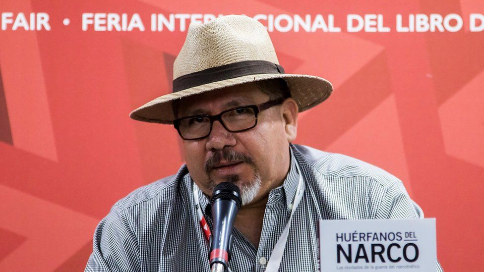 A file photo from November 2016 shows Javier Valdez at the launch of his book Huerfanos del narco