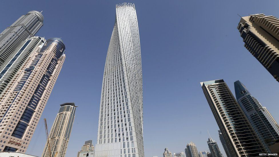 The Cayan tower (C), the world's tallest twisted tower stands at Dubai's Marina