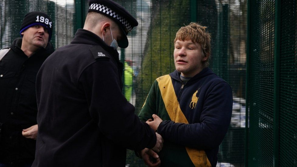 HS2 protester handcuffed