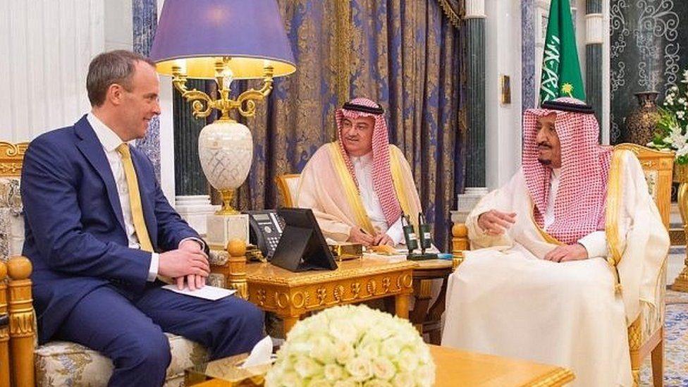 Saudi Arabia's King Salman bin Abdulaziz meets Dominic Raab