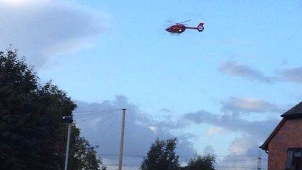 An air ambulance over Shotton