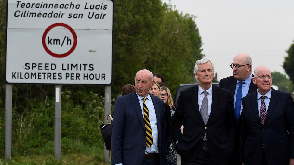 European Union Chief Negotiator for Brexit Michel Barnier accompanied by a delegation of Irish ministers visits the Armagh and County Louth border between Northern Ireland and Ireland May 12, 2017