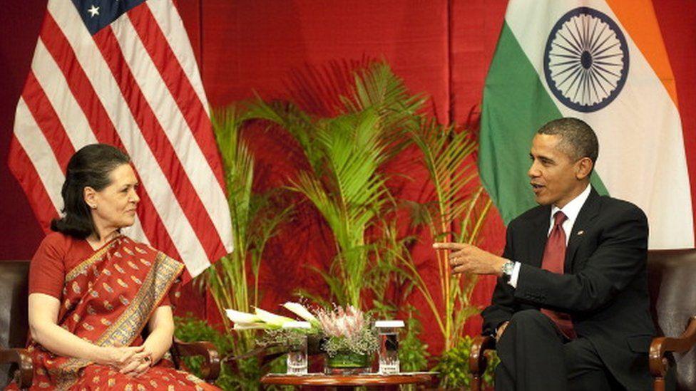 Barack Obama with Sonia Gandhi, 2010