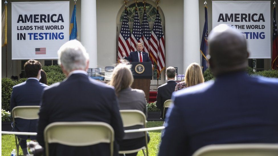US President Donald Trump speaks during a briefing on coronavirus testing in the Rose Garden of the White House