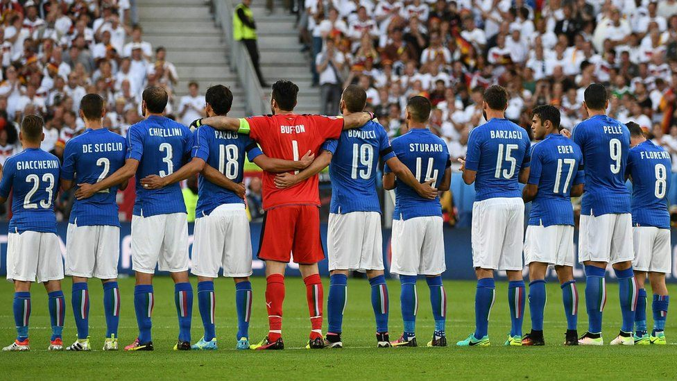 Italy football team in moment of silence for attack victims prior to Euro 2016 quarter-final match between Germany and Italy in Bordeaux on July 2, 2016.