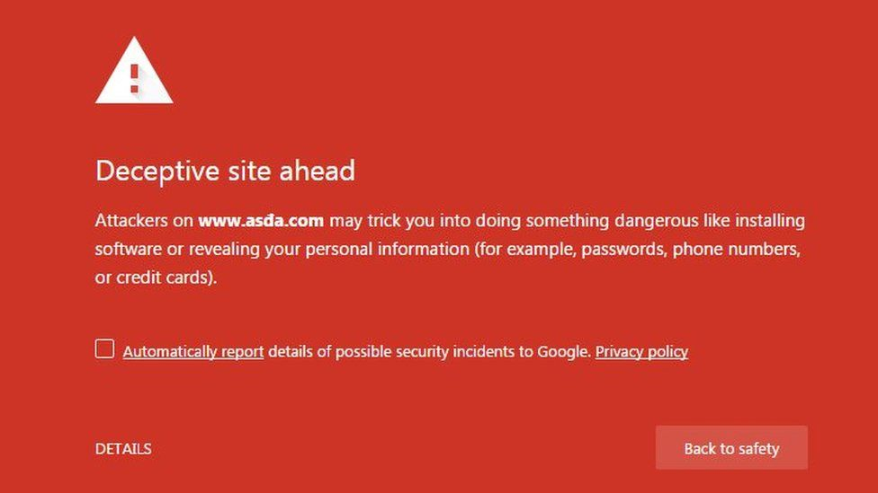 Warning of 'Deceptive site ahead'
