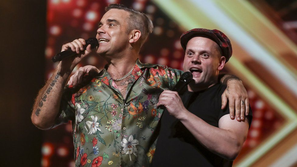 Robbie Williams and Andy Hofton on The X Factor
